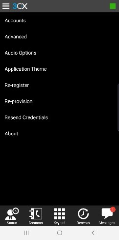 Menu Options on the 3CX App