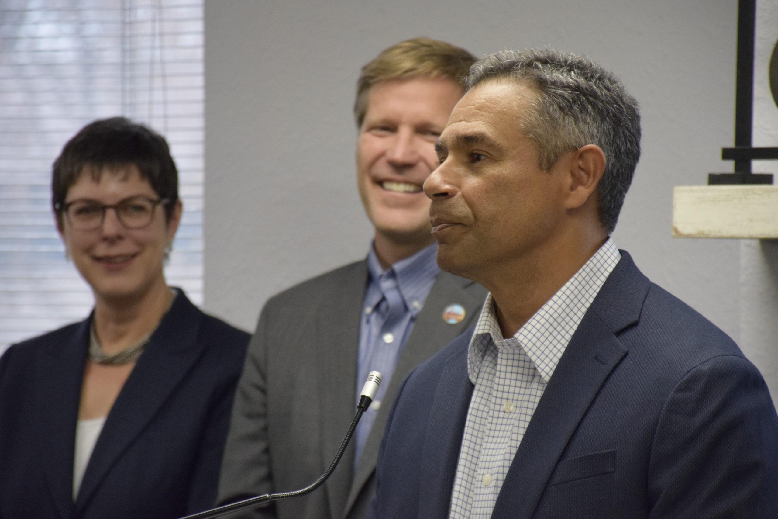 Nick Truyol, Mayor Tim Keller, Tracy L. Hartzler